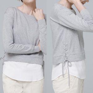 White House Black Market Poplin-Hem Sweatshirt